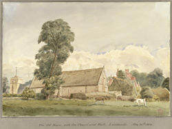 The Old Barn with the Chapel and Hall, Landwade, May 24th 1848